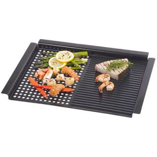 <p>2. Dual Grill/Griddle Pan, $20</p><br />  <p>This versatile grill-top accessory takes the frustration out of cooking small and delicate foods, such as vegetables, seafood, and fruit, that have a tendency to fall through cooking grates. It's also useful for searing all cuts of meat. The split-personality pan has a solid, ridged griddle on one side (for steaks, chicken, and fish) and a perforated grill (for shellfish and vegetables) on the other. It measures 12 by 16 in., and is finished with nonstick porcelain enamel for easy cleaning.</p>