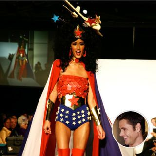 Jaslene, America's Next Top Model, wears <i>Project Runway</i> designer Jack Mackenroth's classic (chocolate) Wonder Woman uniform.