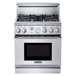 This model has a beefed-up commercial look and an analog clock that our reviewers either loved or hated. It was relatively quick to boil eight quarts of water (30 minutes), and it distributed heat perfectly on each of its four burners, but struggled a bit to hold a low simmer. The conventional setting turned out better cakes than convection, although the opposite was true for cookies -- and no baking results were stellar. While the broiler gives off the even heat you'll want for melting cheese, it couldn't brown a steak the way you'd expect from a heavy-duty model (or we got from many standard consumer ones). Self-cleaning was disappointing, and hand touch-ups were required. Like most pro-styled ranges, it stays cool to the touch even when broiling. (thermador.com)