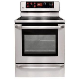 İle its knob-free digital control panel and brushed stainless steel finish, this LG electric range is a beauty. It also delivers exceptional yellow cakes that are level, even-grained, and nicely browned, particularly when baked on convection. While it has programs for delayed-start cooking, storing favorite time and temperature settings, and even bread proofing, we found sometimes we had to press the control pads several times before they responded. And since the top of the oven door becomes hot during broiling, you'll want to be especially diligent in teaching small children to be wary of the range. (us.lge.com)