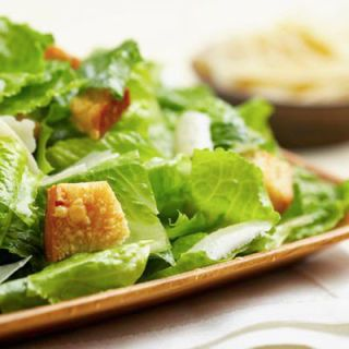 "<p>Here are a couple of takes on a classic recipe (minus the anchovies) that reigns supreme: crunchy Romaine, spiced croutons, salty Parmesan cheese, and a creamy dressing. Feel free to substitute in the dressing of your choice. Pour a glass of Pinot Grigio or Sauvignon Blanc from California to create a meal that's fit for a king!</p><br /> <p><b>Pictured Recipe: </b><a href=""/recipefinder/caesar-salad-4505"" target=""_blank""><b>Caesar Salad</b></a></p> <p><b>Another Idea for Caesar Salad:</b><br /> <a href=""/recipefinder/caesar-salad-shiitake-mushrooms-recipe-8202"" target=""_blank""><b>Caesar Salad with Shiitake Mushrooms</b></a></p>  <b>Try These Bottles:</b> Livio Felluga Pinot Grigio and Geyser Peak Sauvignon Blanc"