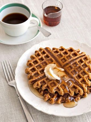 """<p>The unexpected punch of crystallized ginger gives tender pumpkin waffles a grown-up twist that's just begging to be piled with fresh whipped cream. If you have time for a leisurely brunch, make that freshly whipped.</p>  <p><strong>Recipe: <a href=""""http://www.delish.com/recipefinder/pumpkin-ginger-waffles-recipe"""">Pumpkin-Ginger Waffles</a></strong></p>"""
