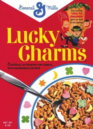 <p>The original box contained toasted oat cereal puffs with marshmallows in the shape of green clovers, yellow moons, yellow and orange stars, and pink hearts. The cereal is in the shape of bells, fish, crosses, three-leaf clovers, and trees. Some theorize these are early Christian symbols, while others claim they are talisman symbols, carried for good luck during medieval times. </p>