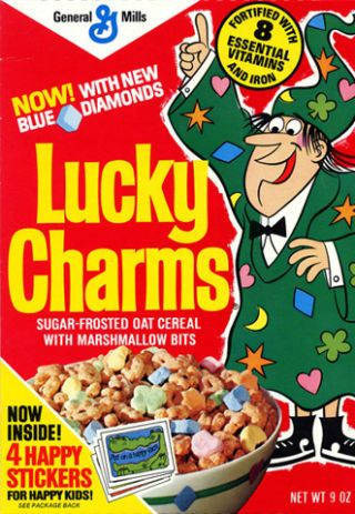 <p>Lucky Charms would eventually start adding new, limited edition charms. In 1975, the blue diamond marshmallows entered the box. Notice the oat cereal became sugar frosted, as we now know it today.</p>