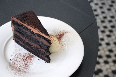 """<p><b>Where you'll find it:</b> <a href=""""http://empire-diner.com/"""" target=""""_blank"""">Empire Diner</a>, New York, NY ($10 per slice)</p>  <p><b>The chocolaty details:</b> Amanda Freitag has critiqued plenty of dishes as a judge on Food Network's <i>Chopped</i>. But at Empire Diner,  where she serves as Executive Chef, its Freitag's food that's up for review, and this stunning dessert doesn't disappoint. Layers of rich devil's food cake are hugged by layers of chocolate pudding. The whole chocolaty creation is covered in chocolate frosting and served with whipped cream. </p>"""