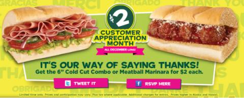 Subway Customer Appreciation Month - 2