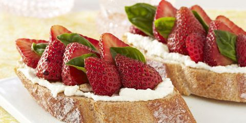 """<p>Combine the favorite dessert pairing of strawberries and balsamic vinegar with creamy ricotta and toasted bread, and you have a perfect appetizer. In the test kitchens, we thought these were delicious for breakfast, and they would make a pretty addition to any summer party.</p> <p><strong>Recipe:</strong> <a href=""""http://www.delish.com/recipefinder/strawberry-ricotta-bruschetta-recipe-ghk0711"""" target=""""_blank""""><strong>Strawberry-Ricotta Bruschetta</strong></a></p>"""