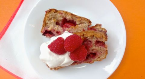 Makes: 1 loaf • 2 cups strawberry ice cream, very soft• 1 1/2 cups self-rising flour• 1/2 pint raspberries• 2 tablespoons Elderflower liqueur 1. Preheat oven to 350 degrees F. Spray a 9-by-5-inch loaf pan with baking spray.  2. In large bowl, stir ice cream until smooth. Stir in flour, raspberries, and Elderflower liqueur until just blended. Transfer to prepared pan. Bake 42 to 48 minutes or until toothpick inserted in center comes out clean.  3. Cool on wire rack for 10 minutes, then invert loaf onto cooling rack. Serve warm or cool completely (with whipped cream and more berries, if desired).