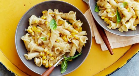 "<p>Sweet summery corn and toasty browned butter stand out in this simple five-ingredient pasta — fancy enough for guests and ready in minutes!</p> <p><strong>Recipe:</strong> <a href=""http://www.delish.com/recipefinder/brown-butter-corn-pasta-recipe-ghk0914""><strong>Brown Butter and Corn Pasta</strong></a></p>"