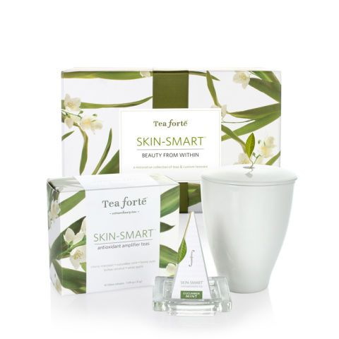"<p>Tea forté's line of Skin-Smart® Teas all start with a green tea base — green tea contains high amounts of antioxidants and compounds that are thought to improve skin structure and boost collagen production, among other things, though scientific studies are not conclusive (for more on the chemistry of tea and its effects on the human body, check out <a href=""http://ajcn.nutrition.org/content/71/6/1698s.full"" target=""_blank""><i>The American Journal of Clinical Nutrition</i></a>. The USDA Organic and Fair Trade Certified teas are then blended with other natural ingredients — such as lychee, coconut, cucumber, apple, and mint — which add flavor as well as added skin-boosting nutrients.</p> <p><a href=""http://www.teaforte.com/store/skin-smart/"" target=""_blank"">teaforte.com</a></p>"