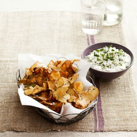 """<p>This seasonal take on chips and dip is full of deep, rich flavors and perfect for cold-weather entertaining.</p><p><b>Recipe: <a href=""""http://www.delish.com/recipefinder/sunchoke-chips-warm-blue-cheese-dip-recipe-clv0214?click=recipe_sr""""> Sunchoke Chips with Warm Blue-Cheese Dip</a></b></p>"""