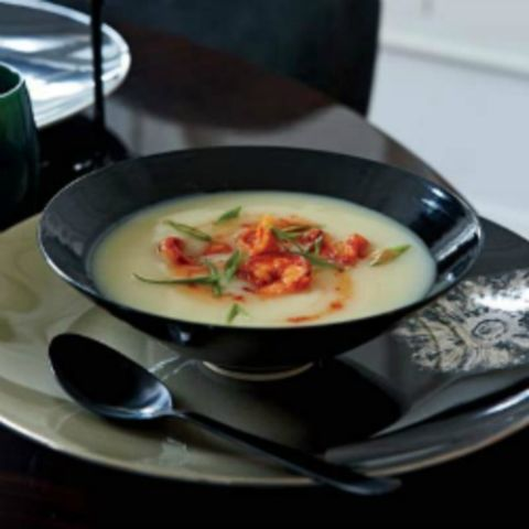 "<p>This silky potato soup is perked up with Turkish red-pepper paste (biber salcasi), made from sweet and hot peppers. Look for the paste at Middle Eastern groceries, or use harissa instead.</p> <p><b>Recipe: <a href=""http://www.delish.com/recipefinder/potato-soup-spicy-shrimp-recipe-fw1210?click=recipe_sr""> Potato Soup with Spicy Shrimp</a></b></p>"