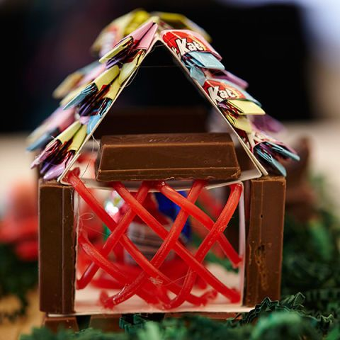 <p>The bunnies but a lot of time into carefully crafting a coop for their chick friends. Kit Kat wrapper tiles keep them warm and dry and the Twizzler weaving is sturdy for when the occasional storm happens at Bunny Manor.</p>
