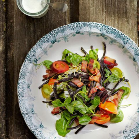 """<p>Pretty purple and green beans add gorgeous color to this simple salad; use a mixture of different beans for a really beautifully composed dish.</p> <p><strong>Recipe: <a href=""""http://www.delish.com/recipefinder/blistered-bean-salad-buttermilk-dressing-recipe-clx0714"""" target=""""_blank"""">Blistered Bean Salad with Buttermilk Dressing</a></strong></p>"""