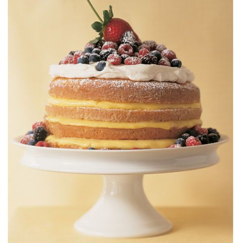 "<p>The name of this old-fashioned cake comes from its simple measuring formula: one cup butter, two cups sugar, three cups flour, and four eggs. Our take on the classic offers layers of textures and tastes, with sweetened whipped cream, custardy lemon curd, and fresh mixed berries.</p> <p><b>Recipe: <a  href=""http://www.delish.com/recipefinder/1-2-3-4-lemon-cake-recipe-mslo0314"">1-2-3-4 Lemon Cake</a></b></p>"