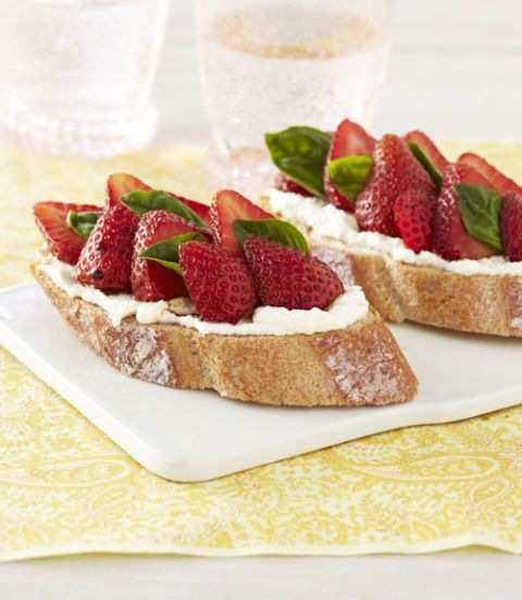"""<p>Combine the favorite dessert pairing of strawberries and balsamic vinegar with creamy ricotta and toasted bread, and you have a perfect appetizer. In the test kitchens, we thought these were delicious for breakfast, and they would make a pretty addition to any summer party.</p><p><strong>Recipe:</strong> <a href=""""http://www.delish.com/recipefinder/strawberry-ricotta-bruschetta-recipe-ghk0711"""" target=""""_blank""""><strong>Strawberry-Ricotta Bruschetta</strong></a></p>"""