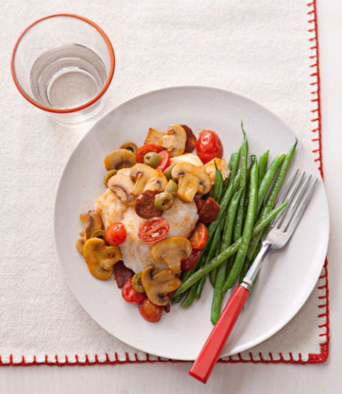 """<p>If you have just 20 minutes, you can have a healthy and flavorful Spanish-inspired dinner for four.</p> <p><strong>Recipe: <a href=""""http://www.delish.com/recipefinder/cod-spanish-mushroom-relish-recipe-ghk0314"""" target=""""_blank"""">Cod with Spanish Mushroom Relish</a></strong></p>"""