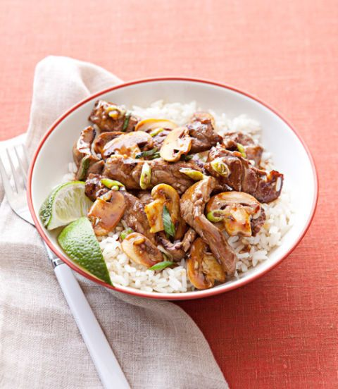 """<p>This simple dish is equally as fast as its delivery counterpart, but features fresher ingredients.</p> <p><strong>Recipe: <a href=""""http://www.delish.com/recipefinder/beef-mushroom-stir-fry-recipe-ghk0314"""" target=""""_blank"""">Beef and Mushroom Stir-Fry</a></strong></p>"""