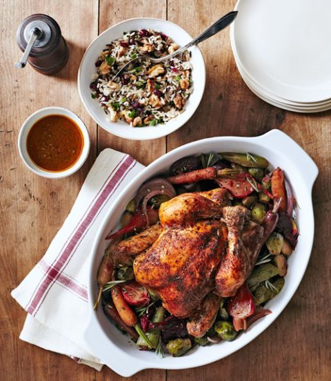 """<p>Need something healthy and hands-off? Look no further than this easy-yet-impressive dinner that's sure to please your whole flock.</p> <p><strong>Recipe:</strong> <a href=""""http://www.countryliving.com/recipefinder/herbed-chicken-beets-brussels-recipe-clx1014"""" target=""""_blank"""">Herbed Chicken With Beets and Brussels</a></p>"""