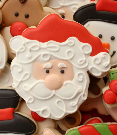 Decorated Santa Cookies