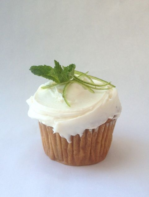 "<p>TIP: Replace vanilla extract with bourbon for frosting that packs a punch.</p> <p>Simmer 1 cup each <strong>water</strong> and <strong>granulated sugar</strong>, 1 bunch <strong>fresh mint</strong> and 1 piece <strong>lime peel</strong> in small saucepan over medium heat, stirring, 5 minutes or until sugar dissolves. Remove from heat&#x3B; let stand 10 minutes. Then strain into a liquid measuring cup through a fine-mesh sieve.</p> <p>Make your favorite <strong>vanilla cupcakes</strong>, from scratch or a mix (I love the yellow cake recipe in the <em><a href=""http://www.amazon.com/Good-Housekeeping-Great-Baking-Pastries/dp/1588165930?tag=ghk_autolinks-20"" target=""blank"">Good Housekeeping Great Baking</a></em> cookbook)! While cupcakes are still warm, poke with a toothpick and brush with the mint simple syrup. Make our favorite <a href=""http://www.goodhousekeeping.com/recipefinder/vanilla-cream-cheese-frosting-1482"" target=""blank"">cream cheese frosting recipe</a>, replacing 1 teaspoon <strong>vanilla</strong> with <strong>bourbon</strong>. Frost cupcakes once cool. Garnish with <strong>mint leaves</strong> and thinly sliced <strong>lime peel</strong>.</p>"
