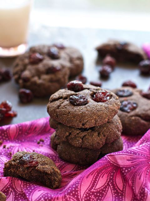 """<p>For a light morning meal, pair these with a large cup of coffee. The chewy cranberries nestled inside make them that much better.</p> <p><strong>Get the recipe at <a href=""""http://www.familyfreshcooking.com/2012/12/12/chocolate-cranberry-breakfast-cookies-recipe/"""">Family Fresh Cooking</a>.</strong></p>"""