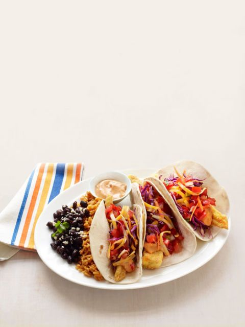 """<p>Mmm...fish tacos. Ours are just as crispy (yeah, they're fried) as your favorite, but you can enjoy them with just a third of the calories. Increíble!</p><br /><p><b>Recipe: </b><a href=""""/recipefinder/healthier-fish-tacos-recipe-rbk0911"""" target=""""_blank""""><b>Healthier Fish Tacos</b></a></p>"""