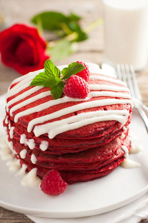 "<p>Pancakes are always a great option for an easy yet delicious breakfast, but make them red velvet for a festive and delectable Christmas morning!</p> <p><strong>Get the recipe from <a href=""http://www.cookingclassy.com/2012/12/red-velvet-pancakes-with-cream-cheese-glaze/"" target=""_blank"">Cooking Classy</a>.</strong></p>"
