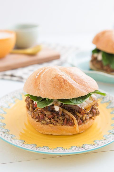 "<p><br /><strong>Get the recipe from <a href=""http://ohmyveggies.com/recipe-freekeh-bean-burgers-harissa-onions/"" target=""_blank"">Oh My Veggies</a>.</strong></p>"