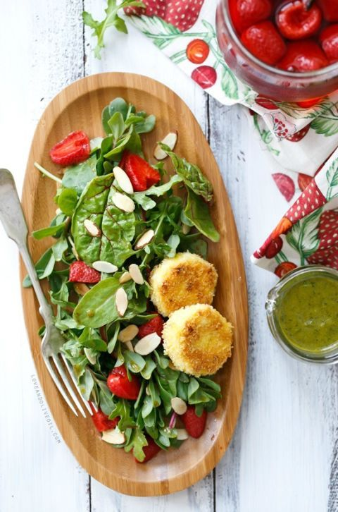 "<p>Even if you're unsure about trying a new green, the pickled strawberries and fried goat cheese medallions will make taking a chance entirely worth it.</p> <p><strong>Get the recipe from <a href=""http://www.loveandoliveoil.com/2014/05/purslane-and-pickled-strawberry-salad-with-fried-goat-cheese.html"" target=""_blank"">Love and Olive Oil</a>.</strong></p>"