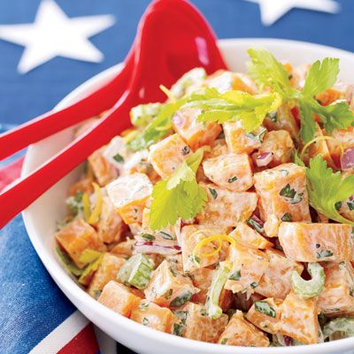 """This new take on sweet potatoes is not only easy to prepare, it'll leave your guests raving over the combination of flavors and the gorgeous presentation of this side dish. Who knew a hint of pineapple and fresh peppers was all you needed to revamp the taste of this traditional recipe.<p><br /><b>Recipe:</b> <a href=""""/recipefinder/sweet-potato-salad-easy-side-dish"""" target=""""_blank"""">Sweet Potato Salad</a></p>"""