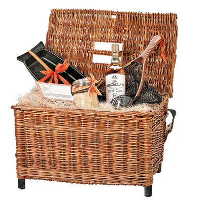 give a fishing dad a cooking basket gourmet breading and scotch