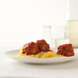 """When scraped out with a fork, cooked spaghetti squash looks a whole lot like spaghetti. It's got a textured bite and lots of fiber and vitamins. It's a way to trick your kids <i>and</i> make sure they get a nutritious meal.<br /><br />  <b>Recipe:</b> <a href=""""/recipefinder/turkey-meatballs-spaghetti-squash-recipe-122850"""" target=""""_blank""""><b>Turkey Meatballs with Spaghetti Squash</b></a>"""