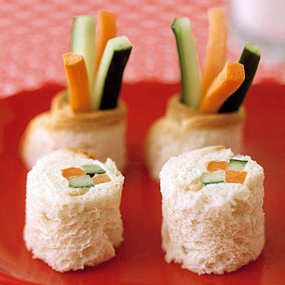 """Offer an unexpected twist on an afternoon snack of raw vegetables — wrap them up in bread to look like sushi.<br /><br />  <b>Recipe:</b> <a href=""""/recipefinder/sushi-surprise-recipe-mslo0911"""" target=""""_blank""""><b>""""Sushi"""" Surprise</b></a>"""