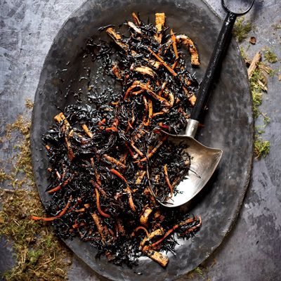 """<p>The Japanese seaweed hijiki, mixed with fried tofu and tossed with sesame oil dressing, just happens to look like worms in a freshly dug grave.</p><p>  <b>Recipe:</b> <a href=""""/recipefinder/worms-dirt-hijiki-salad-recipe-fw1011"""" target=""""_blank""""><b>Worms in Dirt (Hijiki Salad)</b></a></p>"""