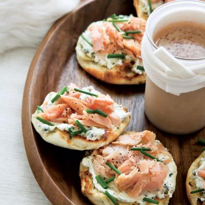 """<p>Inspired by the classic combination of bagels with lox and cream cheese, this variation uses smoked trout and homemade English muffins.</p><p><b>Recipe: </b><a href=""""/recipefinder/smoked-trout-caper-cream-cheese-toasts-recipe-fw0211 """" target=""""_blank""""><b>Smoked-Trout-and-Caper-Cream-Cheese Toasts</b></a></p>"""