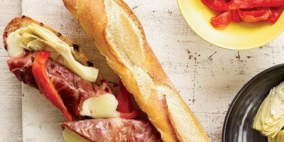 """<p>These gooey sandwiches get double-grilled: the prosciutto-wrapped provolone is grilled first before being sandwiched on grilled baguette.</p><p> <strong>Recipe:</strong> <a href=""""../../../recipefinder/double-grilled-antipasto-sandwiches-recipe-fw0612"""" target=""""_blank""""><strong>Double-Grilled Antipasto Sandwiches</strong></a></p>"""