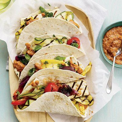 "<p>Chef Alyssa Gorelick wraps grilled vegetables and tofu in tortillas with an eggplant-and-ancho-chile spread that gives the tacos a rich, smoky taste. The spread is also delicious as a dip with pita chips.</p><p><b>Recipe: </b><a href=""/recipefinder/tofu-vegetable-tacos-eggplant-ancho-spread-recipe-fw0612"" target=""_blank""><b>Tofu-and-Vegetable Tacos with Eggplant-Ancho Spread</b></a></p>"