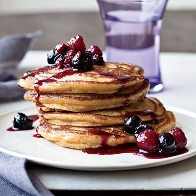 """<p>Using polenta (cornmeal) in addition to white flour in these pancakes makes them especially satisfying, as the ground whole grain delivers lots of fiber and a good amount of protein.</p><p><b>Recipe:</b> <a href=""""http://www.delish.com/recipefinder/cinnamon-polenta-pancakes-recipe"""" target=""""_blank""""><b>Cinnamon Polenta Pancakes</b></a></p>"""