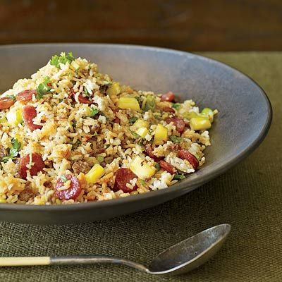 "<p>Here we use both seared ground pork and sweet, aromatic Chinese sausage in a playful manner. As an alternative to Chinese sausage, substitute thick matchsticks of lean maple-cured bacon.</p><br /><p><b>Recipe:</b> <a href=""/recipefinder/pork-pineapple-fried-rice-recipe-fw1110""><b>Pork-and-Pineapple Fried Rice</b></a></p>"