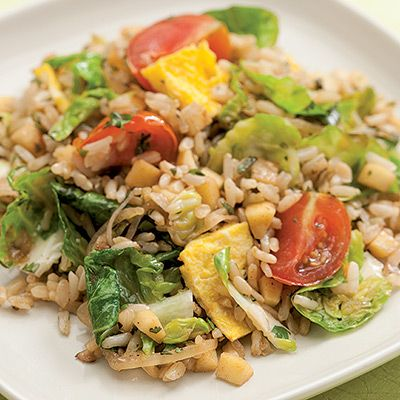 "<p>This fried rice recipe features a fall mixture of sliced Brussels sprouts and parsnips, but feel free to use whatever is fresh and in season. This recipe works best in a wok - a skillet is too small for the volume of food and requires more oil to prevent sticking. Always use cold cooked rice, otherwise the fried rice will be gummy and sticky.</p> <p><strong>Recipe:</strong> <a href=""../../../recipefinder/farmers-market-fried-rice-recipe-ew0911"" target=""_blank""><strong>Farmers' Market Fried Rice</strong></a></p>"