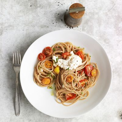 "<p>Chill the wine. Make the salad. Then toss mildly nutty whole-grain spaghetti with roasted cherry tomatoes and a dollop of ricotta, for a no-fuss meal that's ready in 30 minutes.</p> <p><strong>Recipe:</strong> <a href=""/recipefinder/whole-wheat-spaghetti-cherry-tomatoes-recipe-clv0512"" target=""_blank""><strong><b>Whole-Wheat Spaghetti with Cherry Tomatoes</b></strong></a></p> <p> </p> <p>Tomatoes: $5.49 <br />Thyme: $1.29 <br />Spaghetti: $2.35 <br />Parsley: $1.29 <br />Ricotta: $3.71 <br /><br /><strong>Total:* $14.13</strong> (for six servings) <strong>