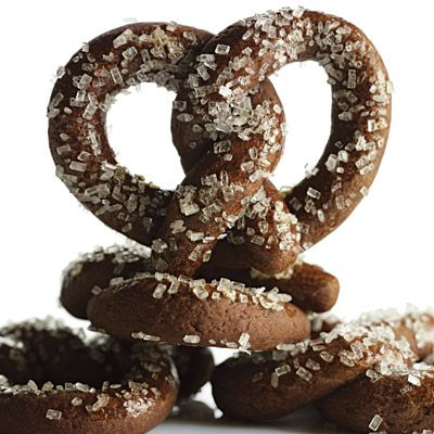 """A sprinkle of coarse sanding sugar embellishes this sweet version of the beloved salty snack.<br /><br /><b>Recipe: <a href=""""/recipefinder/chocolate-pretzels-recipe"""" target=""""_blank"""">Chocolate Pretzels</a> </b>"""