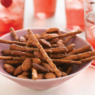 """<p>One handful is never enough of this crunchy bar snack, which goes great with beer or soda.</p><p><b>Recipe:</b> <a href=""""http://www.delish.com/recipefinder/spicy-sweet-pretzel-mix-recipe-mslo0311""""><b>Spicy-Sweet Pretzel Mix</b></a></p>"""