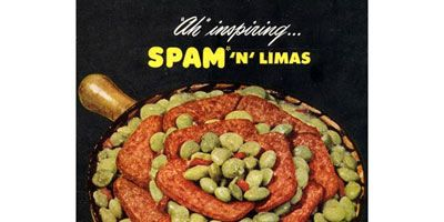 """<p><b>Product:</b> SPAM®<br /> <b>This Ad Ran In:</b> 1946</p>  <p>In 1937, Hormel Foods introduced SPAM. Nearly a decade later, ads were calling out to the busy moms, encouraging them to make SPAM a dinnertime centerpiece. This ad, for """"Spam 'n' Limas,"""" comes with instructions to make a Spanish sauce (tomatoes, chopped onions, green peppers, salt, sugar, and lard), add it to fresh or frozen lima beans and 8 to 10 partly buried slices of SPAM, then bake for 25 minutes at 350 degrees. Would you call that a semi-homemade version of dinner in a can?</p>"""