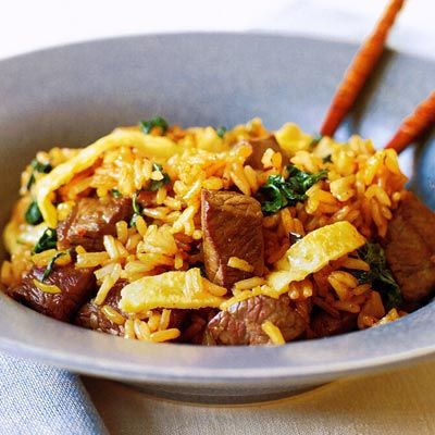 "<p>Skip takeout tonight, and make this healthier homemade version of fried rice instead. Be sure to use the dark brown toasted sesame oil in this recipe to get that Chinese restaurant flavor.</p> <p><b>Recipe:</b> <a href=""/recipefinder/beef-fried-rice-recipe-7686"" target=""_blank""><b>Beef Fried Rice</b></a></p>"