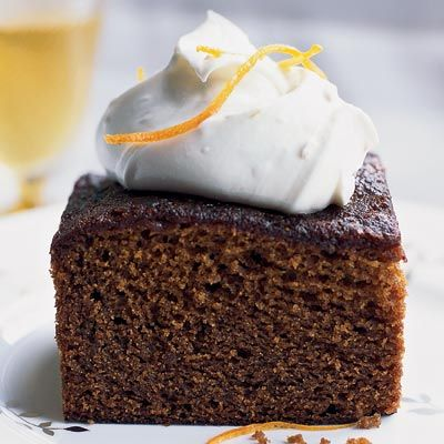 "<p>Katie Rosenhouse, pastry chef at Olana in New York City, makes gingerbread year-round — not just at Christmastime. Her supermoist cake, flavored with molasses for a mellow sweetness, is excellent with wine-poached pears or a topping of whipped mascarpone and sugary, slightly bitter confited orange peel.</p><p> <b>Recipe: <a href=""/recipefinder/molasses-gingerbread-cake-mascarpone-cream-recipe""target=""_new"">Molasses-Gingerbread Cake with Mascarpone Cream</a></b></p>"