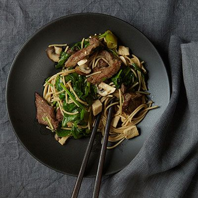"<p>Sukiyaki is sometimes prepared tableside in restaurants; chefs stir-fry strips of beef, then add tofu and vegetables. Instead of beef, Grace Parisi opts to cook chicken breast with light tofu, mushrooms and spinach in a minimal amount of canola oil, then serves the dish with a mild soy sauce broth and steamed rice.</p> <p><strong>Recipe:</strong> <a href=""http://www.delish.com/recipefinder/chicken-sukiyaki-recipe-fw0913""><strong>Chicken Sukiyaki</strong></a></p>"