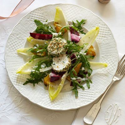 "<p>Tangy goat cheese coated in crispy, toasted breadcrumbs makes an easy, but elegant topping for a dinner party salad.</p><p><b>Recipe:</b> <a href=""/recipefinder/endive-beet-salad-herb-crusted-goat-cheese-recipe-ghk1211""><b>Endive-Beet Salad with Herb-Crusted Goat Cheese</b></a></p>"