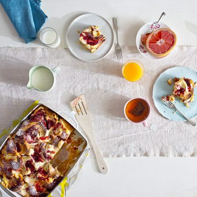 "<p>Make brunch a leisurely affair with casseroles you can assemble the night before and bake the next day — after sleeping in.</p> <p><strong>Recipe:</strong> <a href=""../../../recipefinder/raspberry-goat-cheese-breakfast-strata-recipe-opr0512"" target=""_blank""><strong>Raspberry Goat Cheese Breakfast Strata</strong></a></p>"